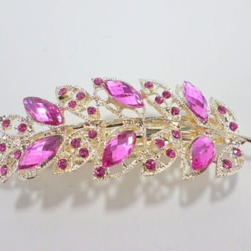 Pink Jeweled Barrette Large Bridal Hair Wedding Accessory Rhinestone Hair Barrette Thick Hair Barrette Silver Hair Clip Jewelry