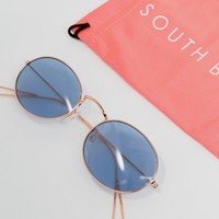 South Beach Rose Gold Oval Sunglasses with Blue Tinted Lens at asos.com