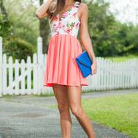 Fan Of Floral Dress, Neon Coral