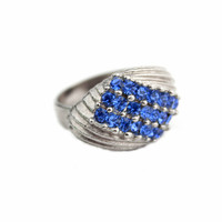 Large Blue Rhinestone Ring - Adjustable Band
