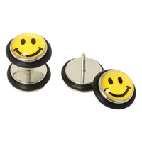 Happy Face Faux Plug Earrings
