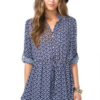 Geo Drawstring Shirtdress