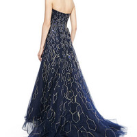 Strapless Metallic Honeycomb High-Low Gown