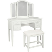 Walmart: Vanity with Tri-fold Mirror and Bench, White