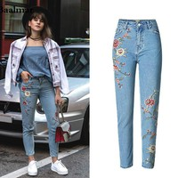 Baalmar Mom Jeans 2017 New Embroidery High Waisted Jeans Floral Ripped Boyfriend Jeans For Women Denim Straight Pants