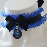 Doctor who choker - Don't blink - black and royal blue costume cosplay neclace lace collar - lolita accessories jewelry - kitten play collar