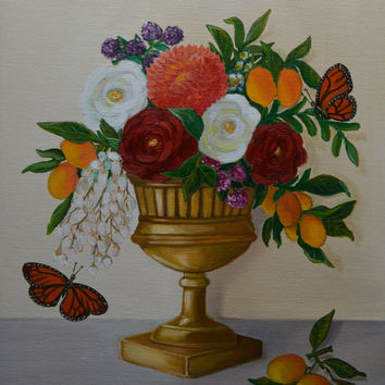 Still Life Painting, Oil Painting, Floral Painting, Autumn Painting, Flower Painting, Urn, Roses, Lemons, Butterflies,11 x14 Canvas Panel