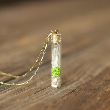 World on a String~ Miniature Crystal Terrarium Pendant Necklace