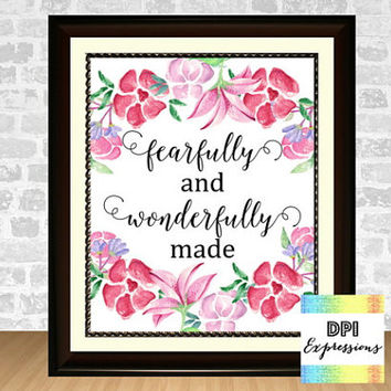 Bible Verse Art Print, I Am Fearfully And Wonderfully Made Psalm 139:14 Printable Art, Inspirational Nursery Wall Decor, INSTANT DOWNLOAD