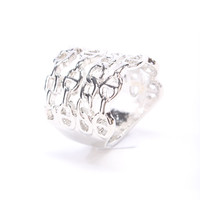 Silver High Polish Smooth Back Chain Link Design Ring