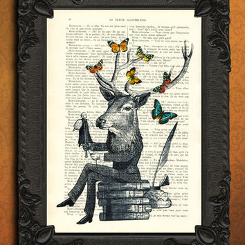 Fantasy victorian man with deer stag head sitting on antique book - dictionary art print upcycled book art print antique page