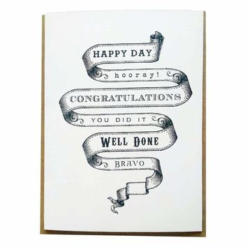 Vintage Congratulations Banner Greeting Card in Black and White