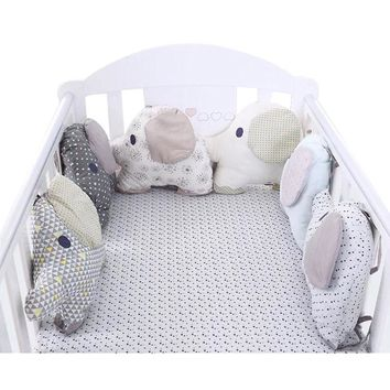 6pcs Baby Bed Crib Bumper Elephant Newborn Toy Baby Bed Protector Crib Bumper Pads Bedding Backrest Cushion around Protection