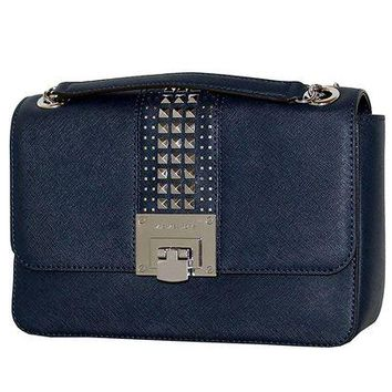 DCCKUG3 MICHAEL Michael Kors Women's TINA Medium Shoulder Flap Leather Evening Studded Handbag
