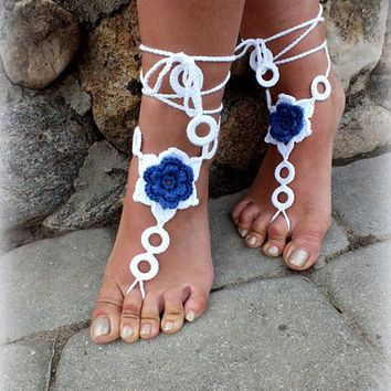 Crochet Barefoot Sandals, Nude shoes, Foot Jewelry, Beach Wedding, Sexy Anklet , Bellydance,Beach Footwear anklet