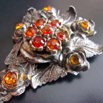 Dress Fur Sweater Art Deco LITTLE NEMO Clip, Orange Topaz Paste Stones, Floral Motif ...signed Antique