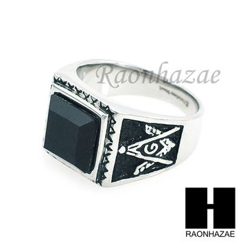 MEN 316L STAINLESS STEEL BLACK ONYX STONE SILVER BLACK RING SIZE 8-12 SR015S