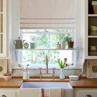 Faux Roman Shade Gray/ Ivory Ticking Stripe Lined  Mock Valance  Stationary Roman Blinds / Custom Sizing Available!