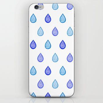 Blue raindrops iPhone & iPod Skin by Savousepate