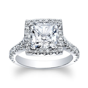 Ladies 14kt white gold diamond engagement ring 0.66 ctw G-VS2 with 2ct natural White Sapphire Princess Cut center