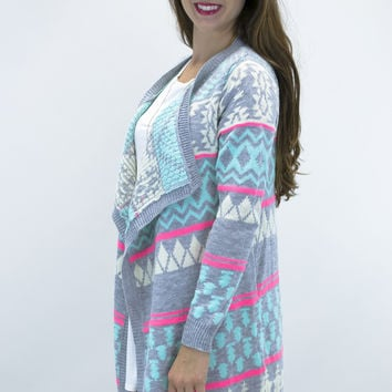 Chilling Mint Aztec Cardigan