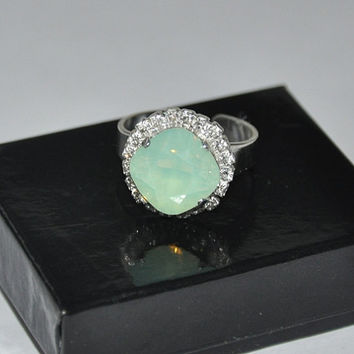 Square Ring, Mint Opal Ring, Swarovski Crystal, Silver Ring, Adjustable Ring, Rhinestone, Cocktail Ring
