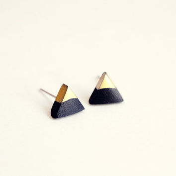 gold dipped triangle studs - black and gold - minimalist geometric earrings