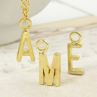 Gold Initial Necklace - Your Initial A-Z Personalized Jewelry Gold Plated with 18 inch Chain