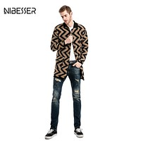 2017 NIBESSER Single-breasted Trench Men Wavy pattern Long Sleeve Trench Coat Men Big Pocket Solid Collar Casual Men Trench