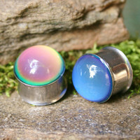 Mood Plugs for gauged ears color change heat reactive custom size 9/16g, 5/8g,  3/4g, 14mm, 16mm, 19mm