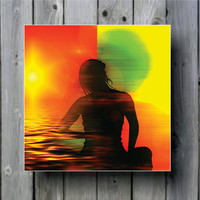 Yoga Meditation Ocean Reggae Art Background Photo Panel - Durable Finish - High Definition - High Glossish - High Definition - High Gloss