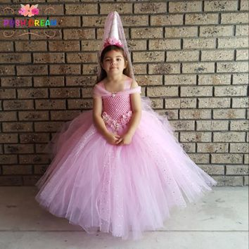 POSH DREAM Pink Glittery Ball Gown Kids Tutu Dress Pony Unicorn Party Children Costume Pink Sequins Tulle Flower Girl Dress