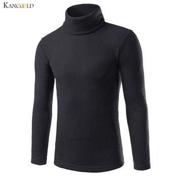Autumn Winter Warm Mens High-collar Sweater Casual Solid Knitting Wool Male Sweater Business Style Turtleneck Boy Pullover Oct14