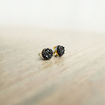Petite Black Druzy Studs (14k Gold Filled, Dainty Black Druzy Earrings)