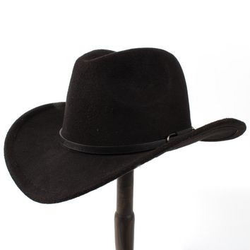 Unisex Wool Cowboy Western Hat with Leather Band
