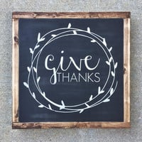 give thanks sign | give thanks | fall sign | fall decor | thanksgiving sign | thanksgiving decor | thanksgiving gift | housewarming gift