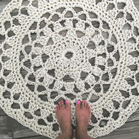 "Off White Pearl Patio Porch Cord Crochet Rug in 36"" Flower Circle Pattern READY TO SHIP"