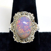 Art Nouveau / Deco Ring. Sterling silver with faux opal. Hallmarked