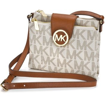 Michael Kors Women's MK Signature White Vanilla Crossbody Shoulder Bag Messenger