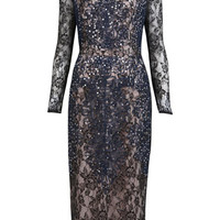 Lace Sequin Midi Pencil Dress