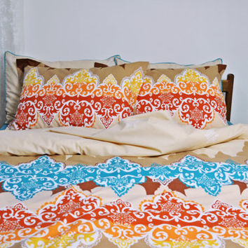 King Size Bedding, Moroccan Style Print in Brown, Brick Red, Orange, Yellow, Blue – 6-piece Set of Duvet Cover, Sheet, Shams & Pillow Cases