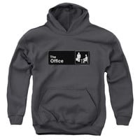 THE OFFICE/SIGN LOGO-YOUTH PULL-OVER HOODIE - CHARCOAL -