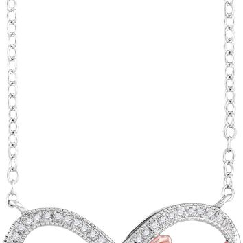 10k White Gold Pink 2-tone Womens Diamond Faith Infinity Pendant Necklace 1/10 Cttw