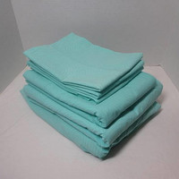 1990s, 6 Piece Sheet Set in Aqua with Circle Print, All Cotton, 2 Flats, 1 Fitted Sheet, 3 Pillowcases, Upcycle Sheets, Vintage Bed Linens