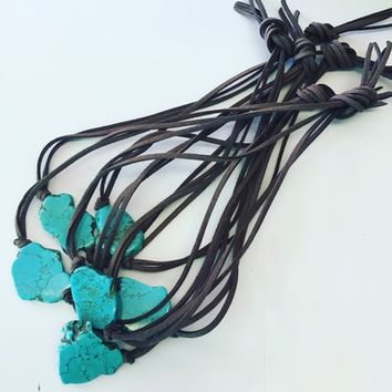 Turquoise slab choker from PeaceLove&Jewels