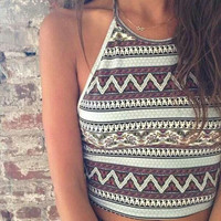 Ethnic Print Crop Top Women Boho Camis blusa Blouse Casual ropa mujer veste femme Resort Beach Gypsy T Shirt Cropped Sexy Tees