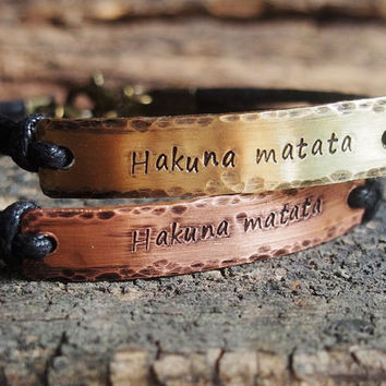 Custom Couple Bracelet, Quote Bracelet, couples quote bracelet, hand stamped bracelet hammered bracelet, personalized bracelet Hakuna matata