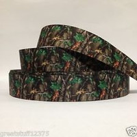 """Grosgrain Ribbon, 7/8"""" Camouflage Grosgrain Ribbon--Camo Tree Printed Ribbon, sold by the yard, craft supply"""