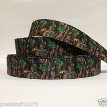 "Grosgrain Ribbon, 7/8"" Camouflage Grosgrain Ribbon--Camo Tree Printed Ribbon, sold by the yard, craft supply"
