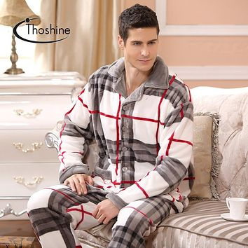 Thoshine 2017 Spring Winter Men Thick Coral Fleece Warm Pijamas sets of Sleep Tops & Trousers Male Flannel Nighty Home Sleepwear